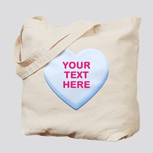 Blue Custom Candy Heart Tote Bag