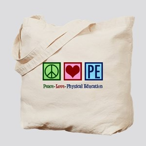 Peace Love PE Teacher Tote Bag