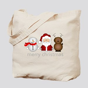 Santa, Reindeer And Snowman Tote Bag