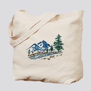 Sketch Mountain Scene Tote Bag