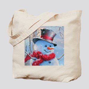 Snowman in the Woods Tote Bag