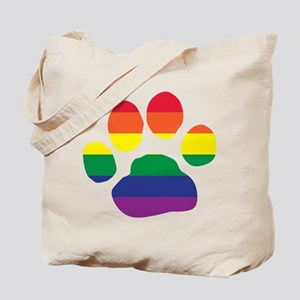 Gay Pride Rainbow Paw Print Tote Bag