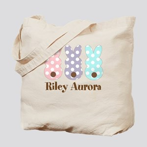 Custom name Polka dot bunnies Tote Bag
