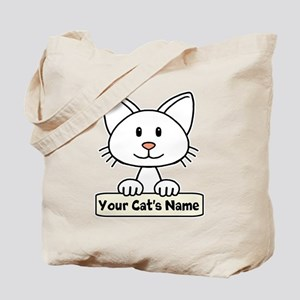 Personalized White Cat Tote Bag