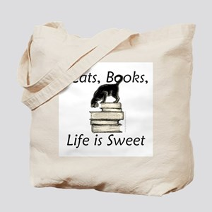 Cat on Books Tote Bag