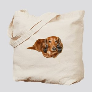 Long Hair Red Dachshund Tote Bag