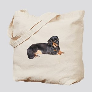 Black Long Hair Dachshund Tote Bag