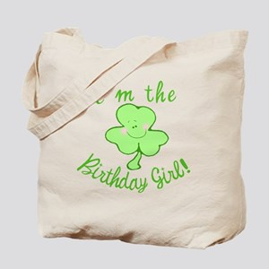 Birthday Girl with Shamrock Tote Bag