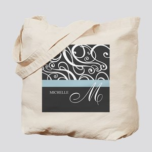 Elegant Grey White Swirls Monogram Tote Bag