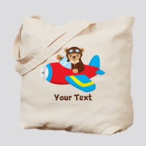 Cute Teddy Bear Pilot in Red, Blue Airplane Tote B