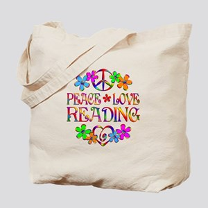 Peace Love Reading Tote Bag