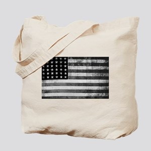 American Vintage Flag Black and White hor Tote Bag