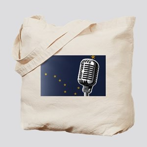 Alaska Flag And Microphone Tote Bag