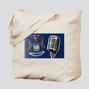Michigan Flag And Microphone Tote Bag