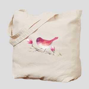 Pink Sparrow Bird on Magnolia Flower Bran Tote Bag