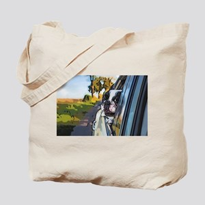 Happy dog on the road Tote Bag