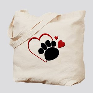Dog Paw Print with Love Heart Tote Bag