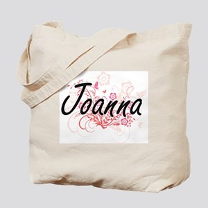 Joanna Artistic Name Design with Flowers Tote Bag