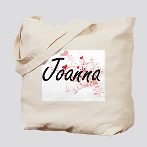 Joanna Artistic Name Design with Hearts Tote Bag
