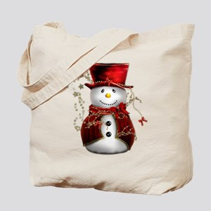 Cute Snowman in Red Velvet Tote Bag