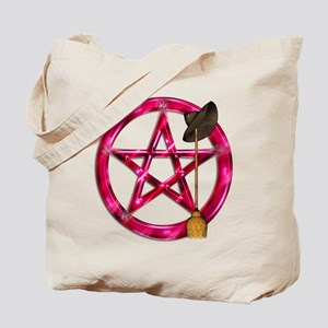 Pink Pentacle Broom - Hat Tote Bag