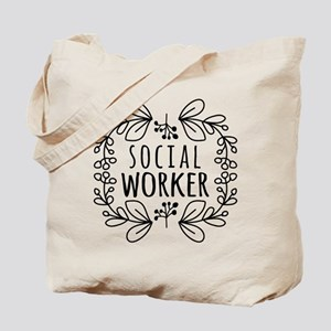 Hand-Drawn Wreath Social Worker Tote Bag