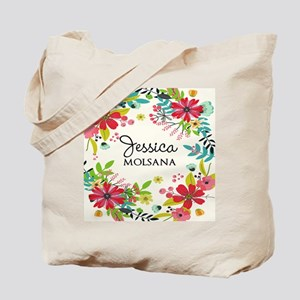 Painted Floral Personalized Monogram Tote Bag