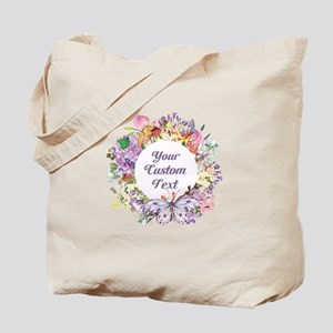Custom Text Floral Wreath Tote Bag
