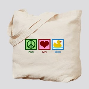 Peace Love Ducks Tote Bag