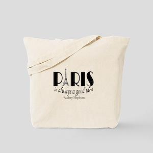 Audrey Hepburn Paris Quote Black Tote Bag