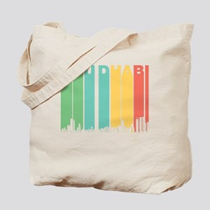 Retro Abu Dhabi Skyline Tote Bag