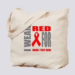 Red Awareness Ribbon Customized Tote Bag
