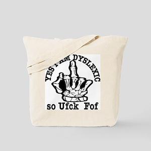 Middle Finger Dyslexic Tote Bag