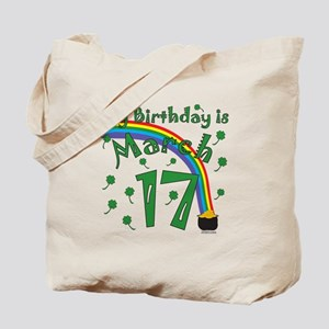 St. Patrick's Day March 17th Birthday Tote Bag
