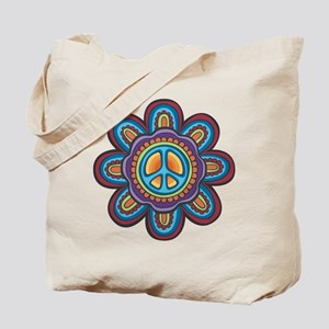 Hippie Peace Flower Tote Bag