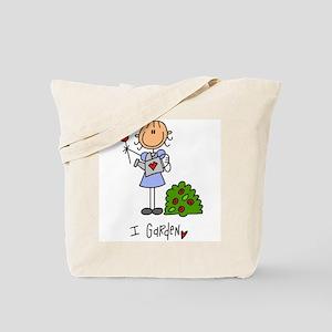 I Garden Stick Figure Tote Bag
