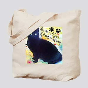 Stray Black Kitty Tote Bag