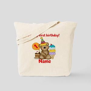 First Birthday Bear Tote Bag