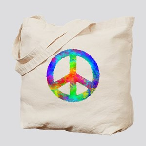 Multicolored Peace Sign Tote Bag