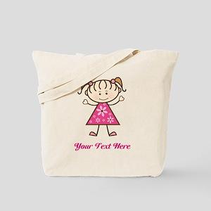Pink Stick Figure Girl Tote Bag