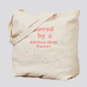 Loved by aAfrican Grey Parrot Tote Bag