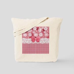 Pretty Pink Gingham Daisies Tote Bag