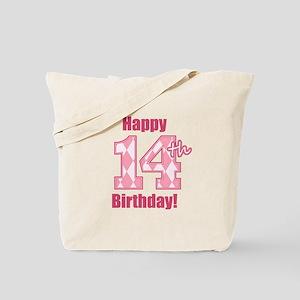 Happy 14th Birthday - Pink Argyle Tote Bag