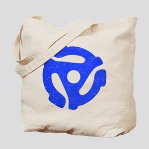 Blue Distressed 45 RPM Adapter Tote Bag