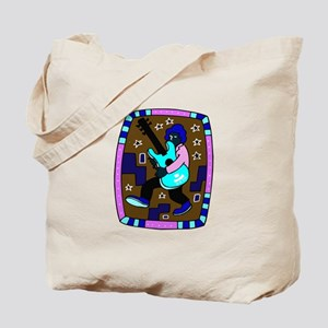 male carrying 5 string bass blue graphic Tote Bag
