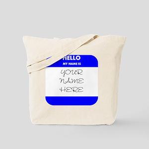 Custom Blue Name Tag Tote Bag