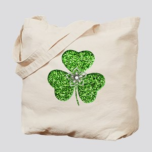 Glitter Shamrock With A Flower Tote Bag