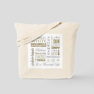 modern vintage Christmas words Tote Bag