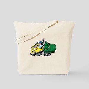 Garbage Truck Driver Waving Cartoon Tote Bag