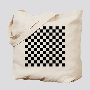BLACK AND WHITE Checkered Pattern Tote Bag